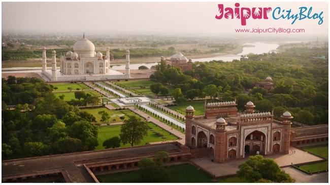 Taj Mahal Agra Ariel view
