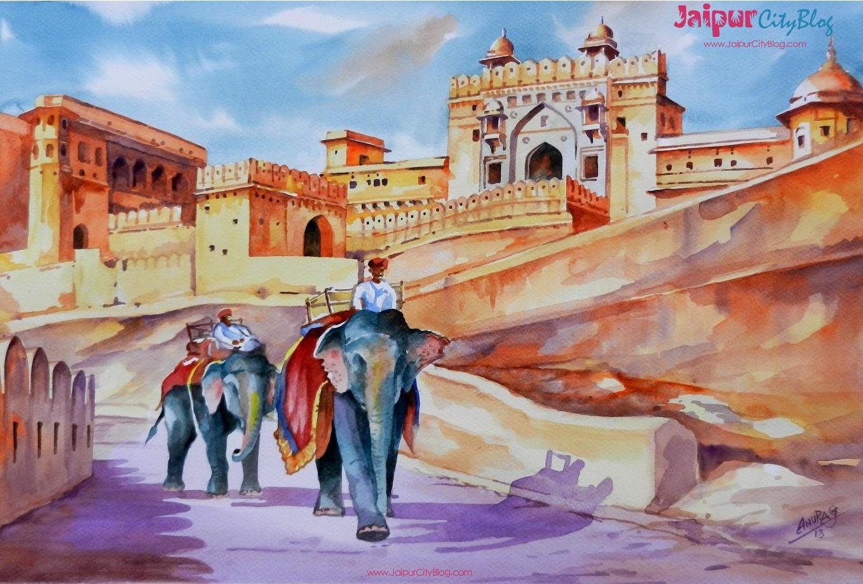 Elephants at Amer Fort Jaipur