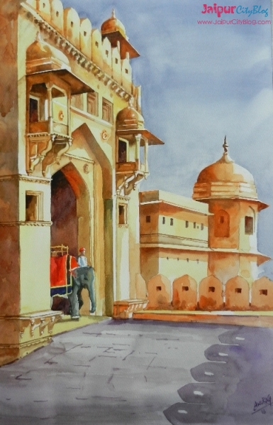Painting of Amer Fort Jaipur