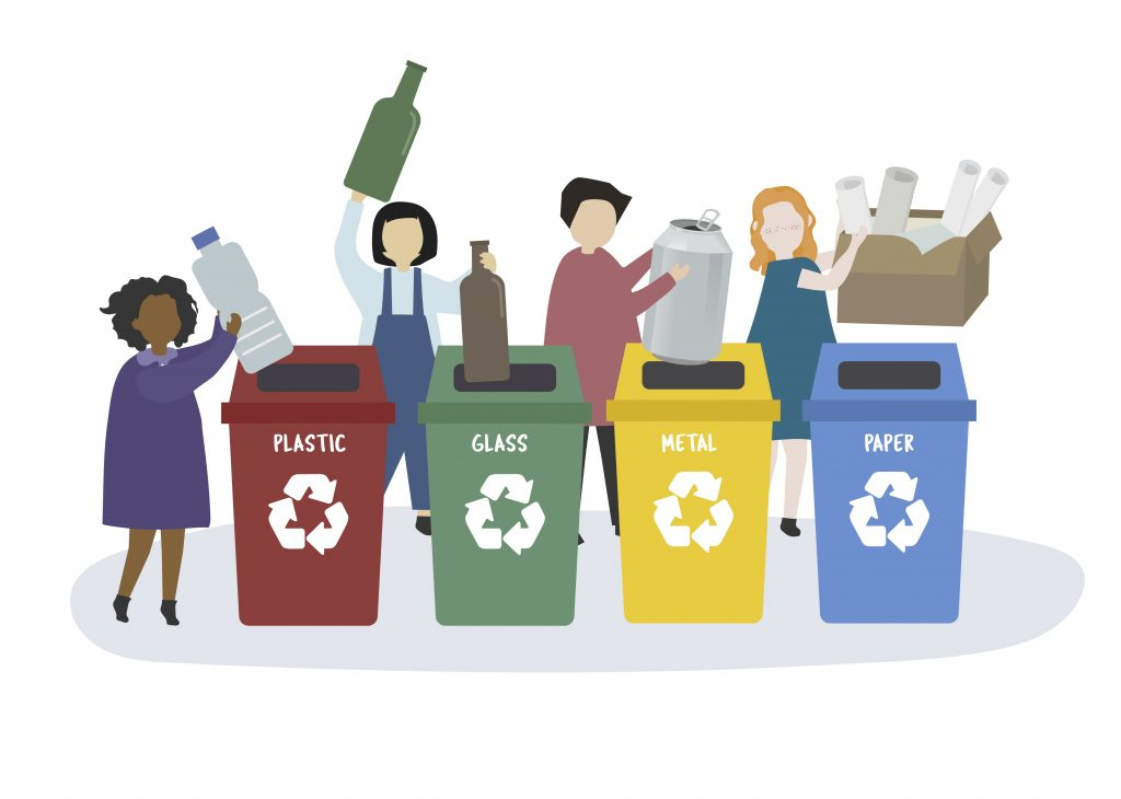 People sorting garbage into recycle bins